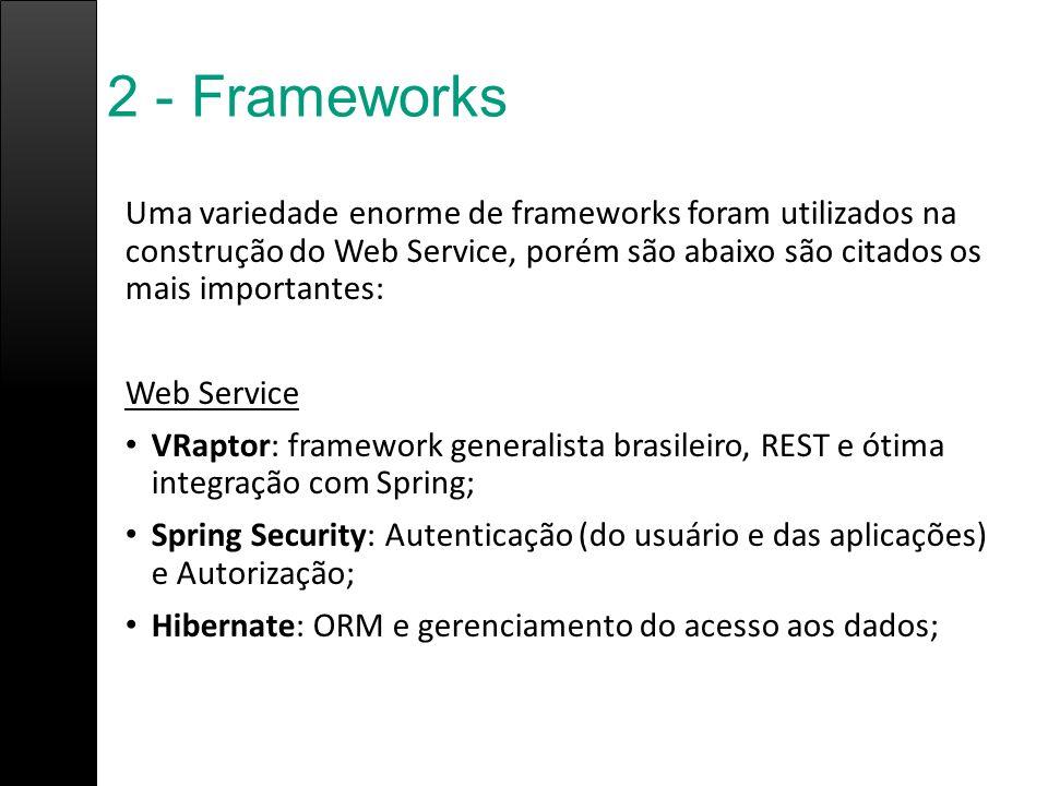 2 - Frameworks Uma variedade enorme de frameworks foram utilizados na construção do Web Service, porém são abaixo são citados os mais importantes: Web