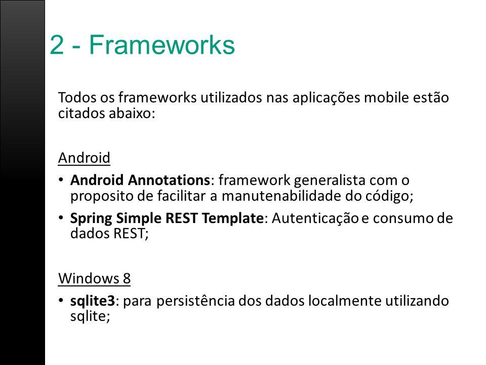 2 - Frameworks Todos os frameworks utilizados nas aplicações mobile estão citados abaixo: Android Android Annotations: framework generalista com o pro