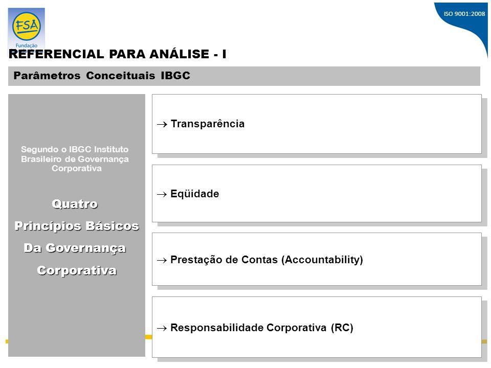 ISO 9001:2008 S Í N T E S E Médias das Respostas, Segundo os 04 Princípios da Governança Corporativa MÉDIA GERAL Transparência Equidade Prestação de Contas Responsabilidade Corporativa 91% 96% 91% 84% 92% 4% 2% 4% 7% 2% 6% 2% 5% 9% 6% Conceitos PositivosConceitos NeutrosConceitos Negativos Respondentes: 73