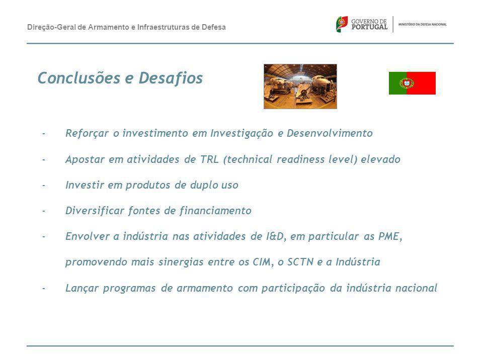 -Reforçar o investimento em Investigação e Desenvolvimento -Apostar em atividades de TRL (technical readiness level) elevado -Investir em produtos de