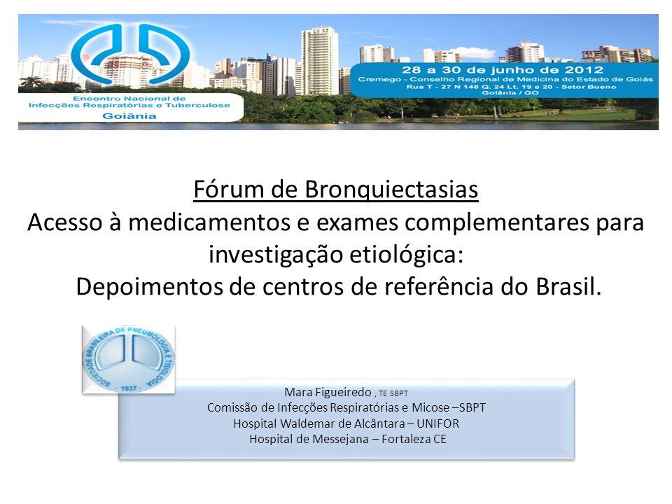 Fórum de Bronquiectasias Acesso à medicamentos e exames complementares para investigação etiológica: Depoimentos de centros de referência do Brasil. M