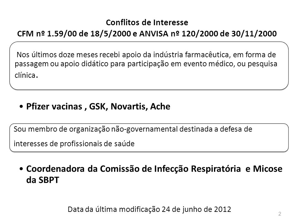 Conflitos de Interesse CFM nº 1.59/00 de 18/5/2000 e ANVISA nº 120/2000 de 30/11/2000 2 Nos últimos doze meses recebi apoio da indústria farmacêutica,