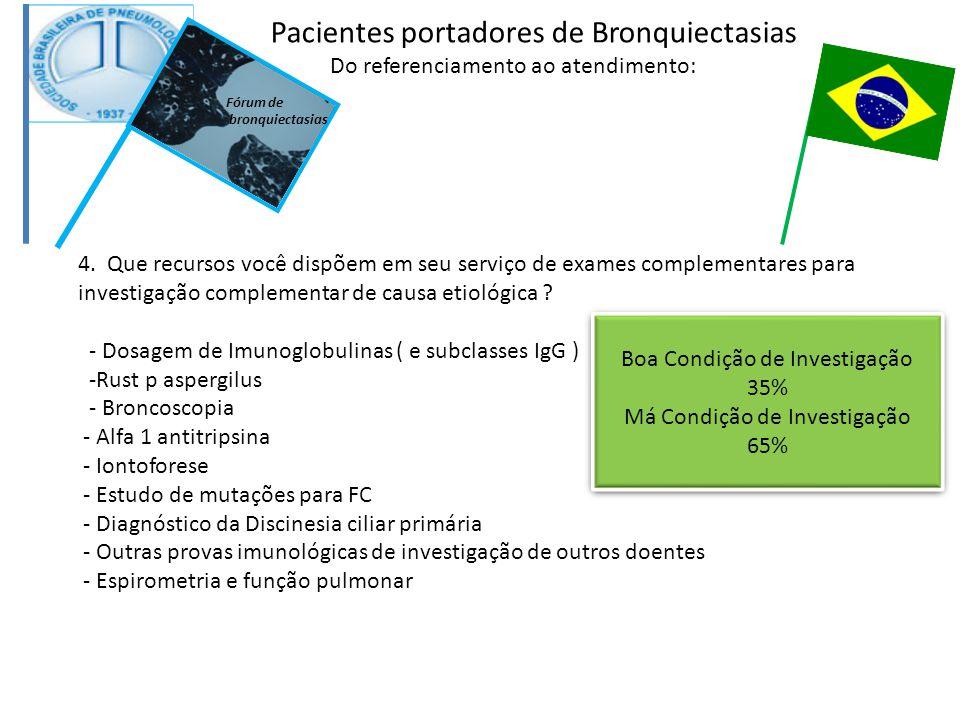 4. Que recursos você dispõem em seu serviço de exames complementares para investigação complementar de causa etiológica ? - Dosagem de Imunoglobulinas