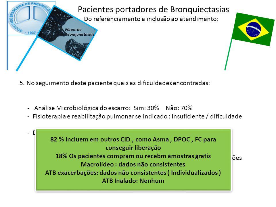 5. No seguimento deste paciente quais as dificuldades encontradas: - Análise Microbiológica do escarro: Sim: 30% Não: 70% - Fisioterapia e reabilitaçã