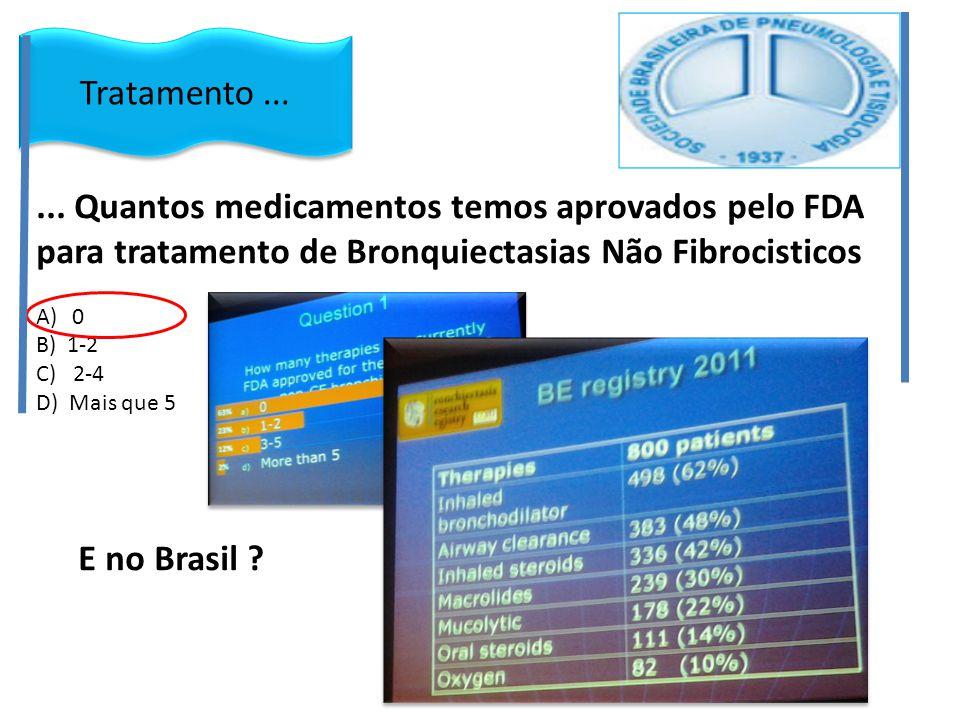... Quantos medicamentos temos aprovados pelo FDA para tratamento de Bronquiectasias Não Fibrocisticos A)0 B) 1-2 C) 2-4 D) Mais que 5 E no Brasil ? T