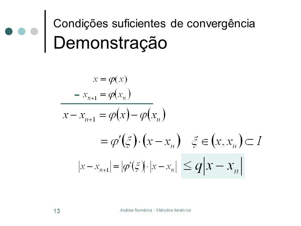 Análise Numérica - Métodos iterativos 13 Condições suficientes de convergência Demonstração