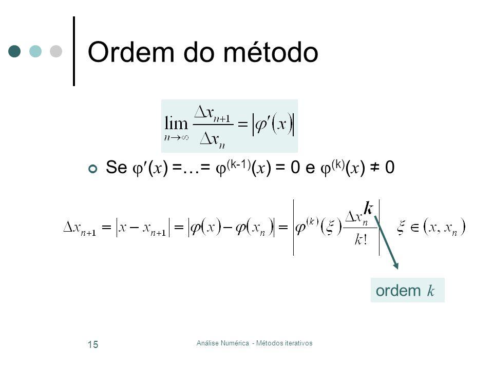 Análise Numérica - Métodos iterativos 15 Ordem do método Se  ( x ) =…=  (k-1) ( x ) = 0 e  (k) ( x ) ≠ 0 ordem k
