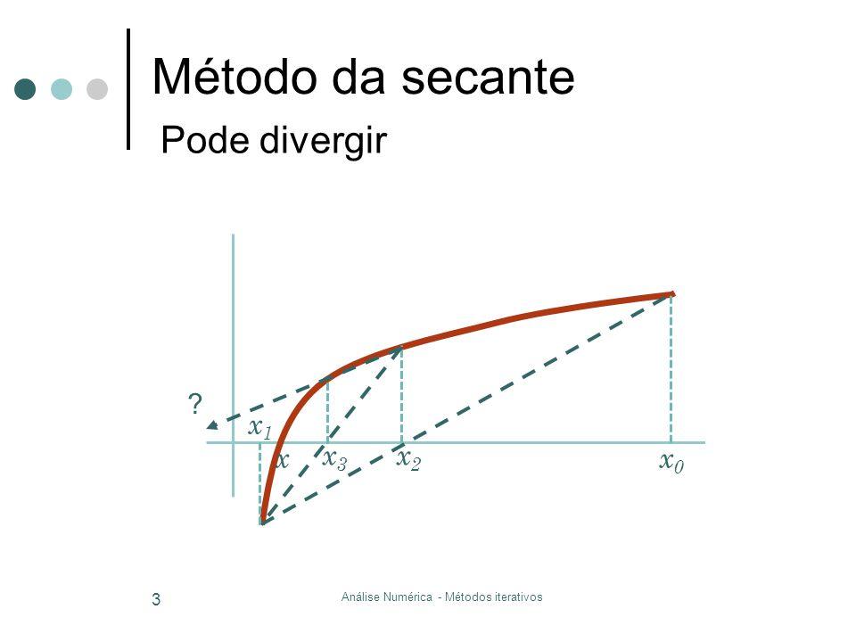 Método da secante Análise Numérica - Métodos iterativos 3 x0x0 x1x1 x2x2 x3x3 ? Pode divergir x