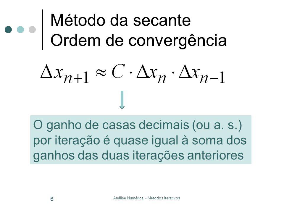 Análise Numérica - Métodos iterativos 7 Método Iterativo Simples.