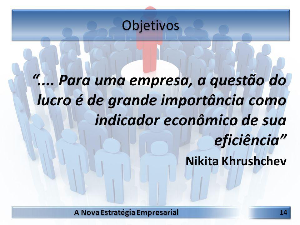 """A Nova Estratégia Empresarial 14 """".... Para uma empresa, a questão do lucro é de grande importância como indicador econômico de sua eficiência"""" Nikita"""
