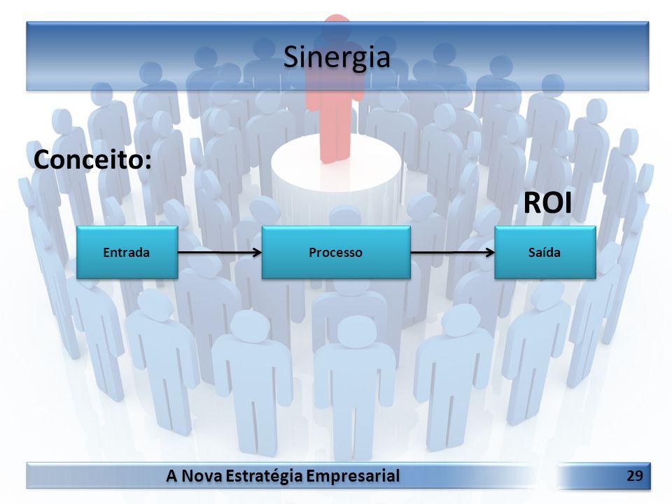 A Nova Estratégia Empresarial 29 Conceito: Sinergia Processo Entrada Saída ROI