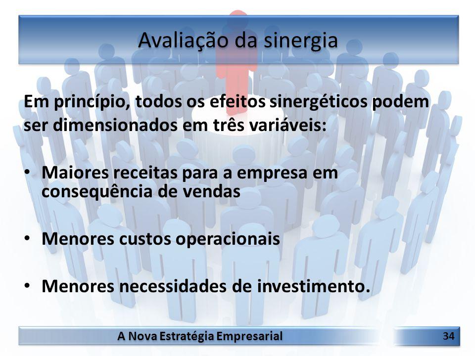 A Nova Estratégia Empresarial 34 Em princípio, todos os efeitos sinergéticos podem ser dimensionados em três variáveis: Maiores receitas para a empres