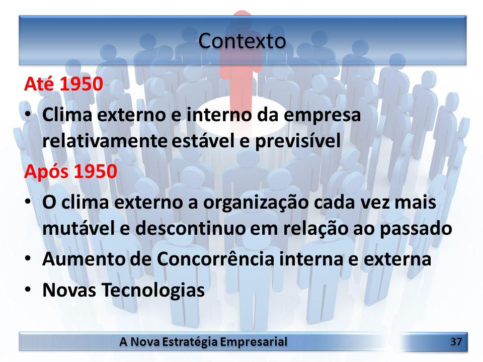 A Nova Estratégia Empresarial 37 Até 1950 Clima externo e interno da empresa relativamente estável e previsível Após 1950 O clima externo a organizaçã