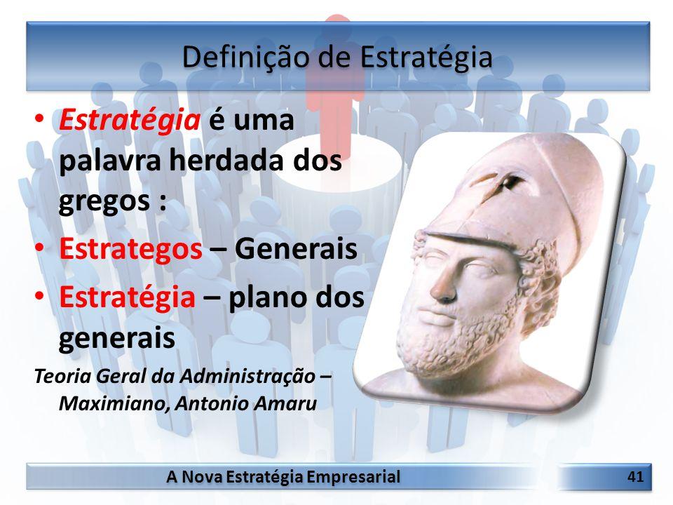 A Nova Estratégia Empresarial 41 Estratégia é uma palavra herdada dos gregos : Estrategos – Generais Estratégia – plano dos generais Teoria Geral da A