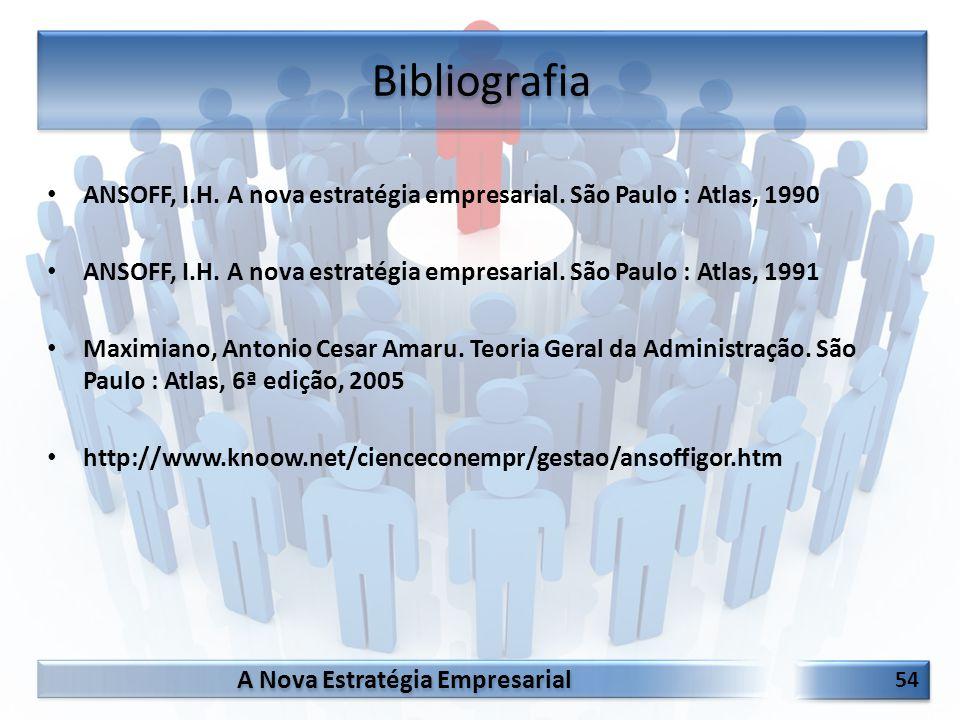 A Nova Estratégia Empresarial 54 ANSOFF, I.H. A nova estratégia empresarial. São Paulo : Atlas, 1990 ANSOFF, I.H. A nova estratégia empresarial. São P