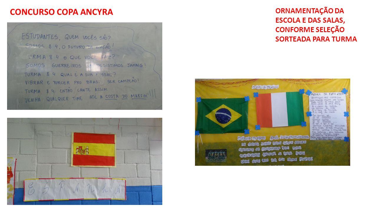 CONCURSO COPA ANCYRA ORNAMENTAÇÃO DA ESCOLA E DAS SALAS, CONFORME SELEÇÃO SORTEADA PARA TURMA