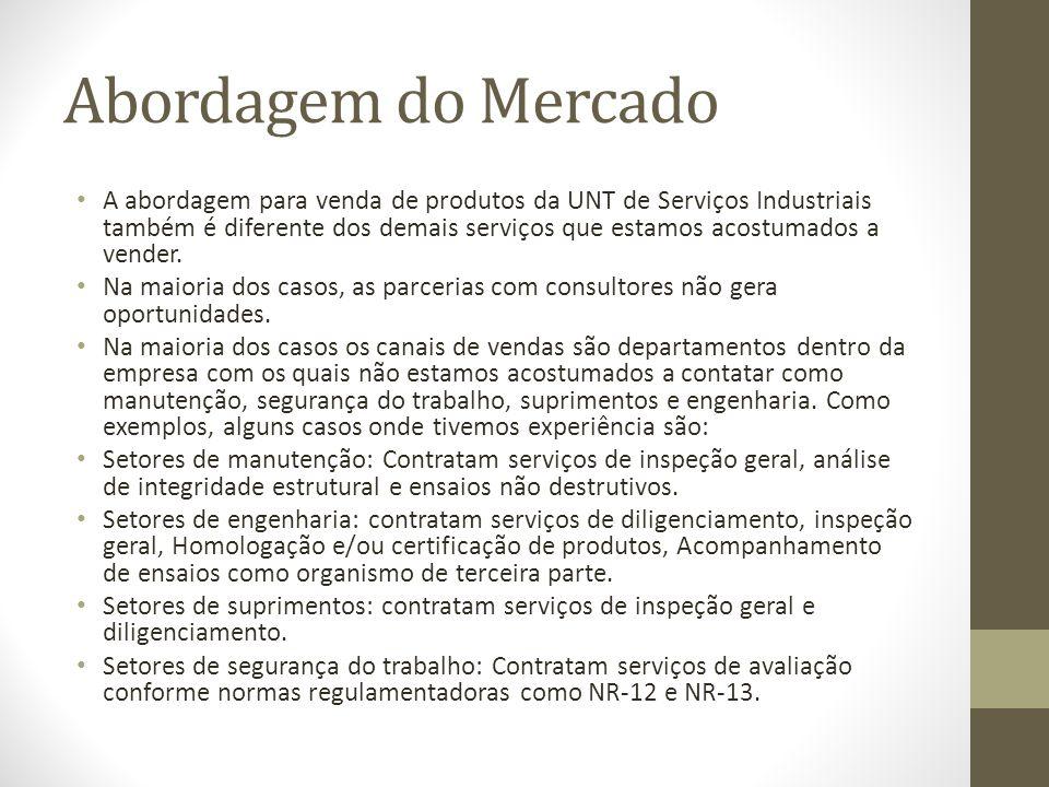 Abordagem do Mercado A abordagem para venda de produtos da UNT de Serviços Industriais também é diferente dos demais serviços que estamos acostumados
