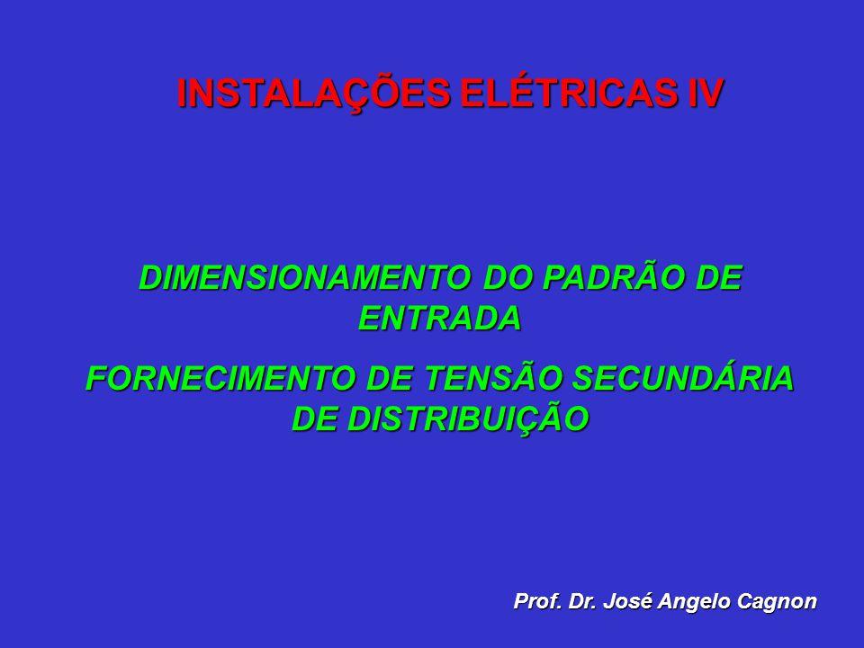 DIMENSIONAMENTO DO PADRÃO DE ENTRADA FORNECIMENTO DE TENSÃO SECUNDÁRIA DE DISTRIBUIÇÃO Prof. Dr. José Angelo Cagnon INSTALAÇÕES ELÉTRICAS IV