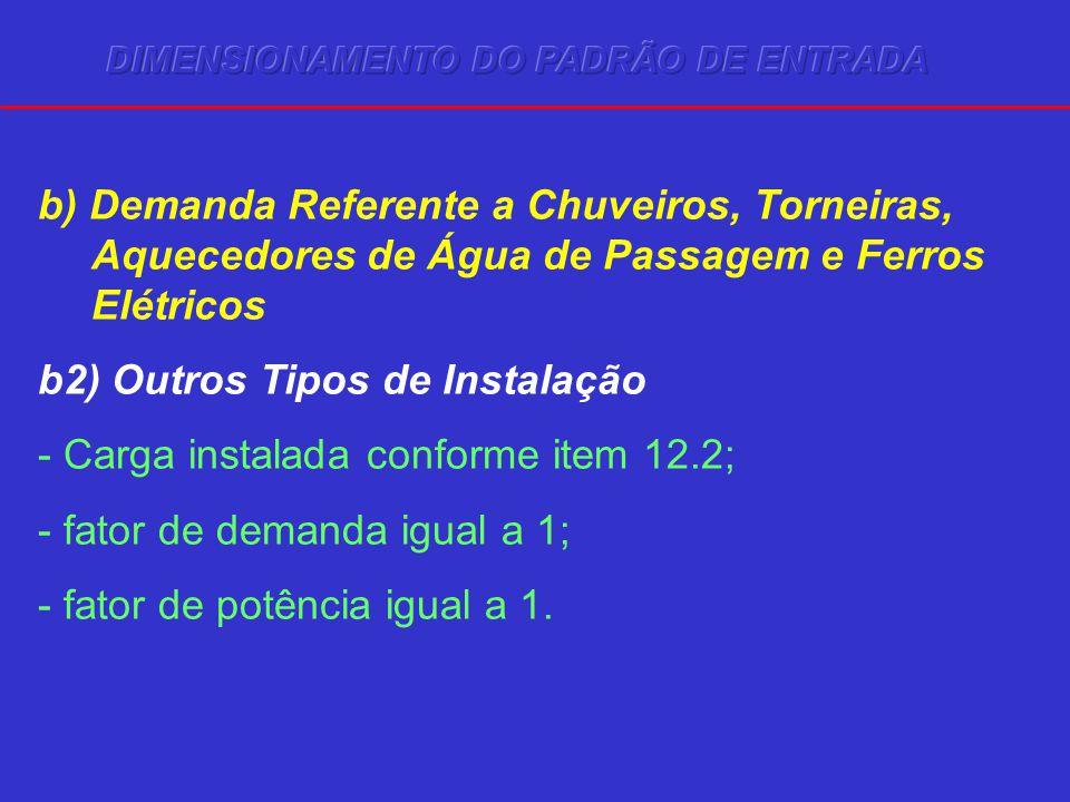 b) Demanda Referente a Chuveiros, Torneiras, Aquecedores de Água de Passagem e Ferros Elétricos b2) Outros Tipos de Instalação - Carga instalada conforme item 12.2; - fator de demanda igual a 1; - fator de potência igual a 1.