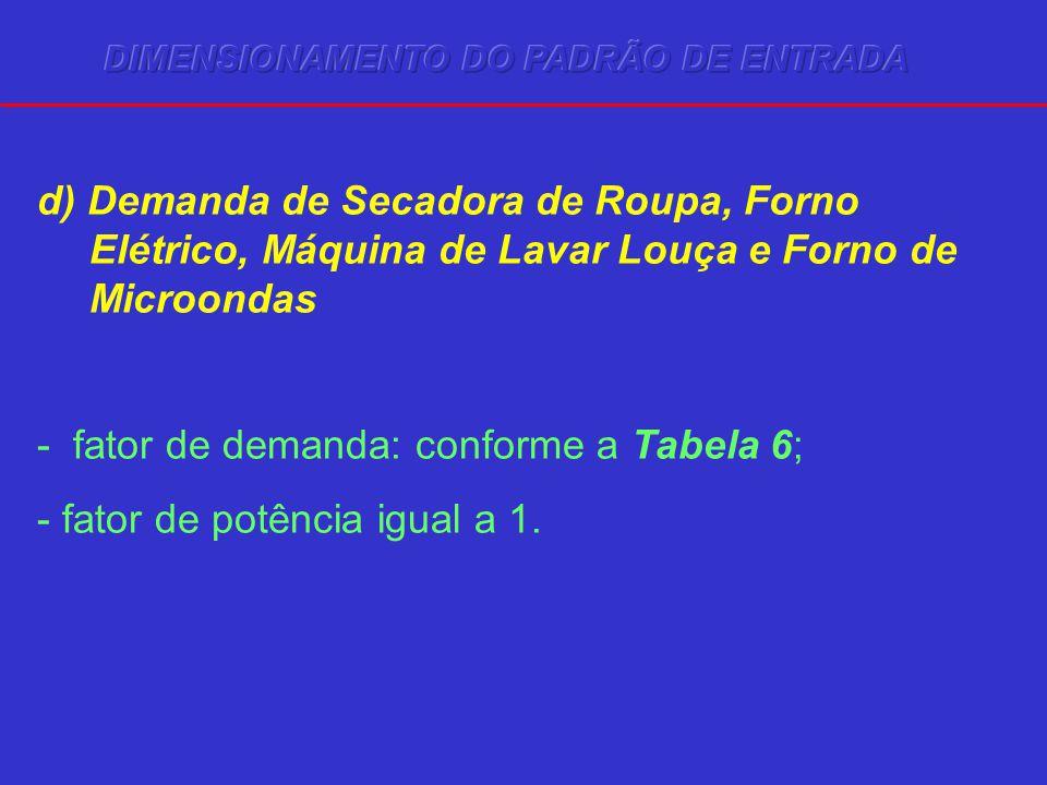 d) Demanda de Secadora de Roupa, Forno Elétrico, Máquina de Lavar Louça e Forno de Microondas - fator de demanda: conforme a Tabela 6; - fator de potência igual a 1.