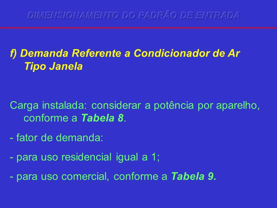 f) Demanda Referente a Condicionador de Ar Tipo Janela Carga instalada: considerar a potência por aparelho, conforme a Tabela 8. - fator de demanda: -