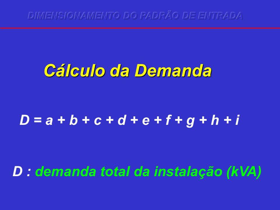 Cálculo da Demanda D = a + b + c + d + e + f + g + h + i D : demanda total da instalação (kVA)