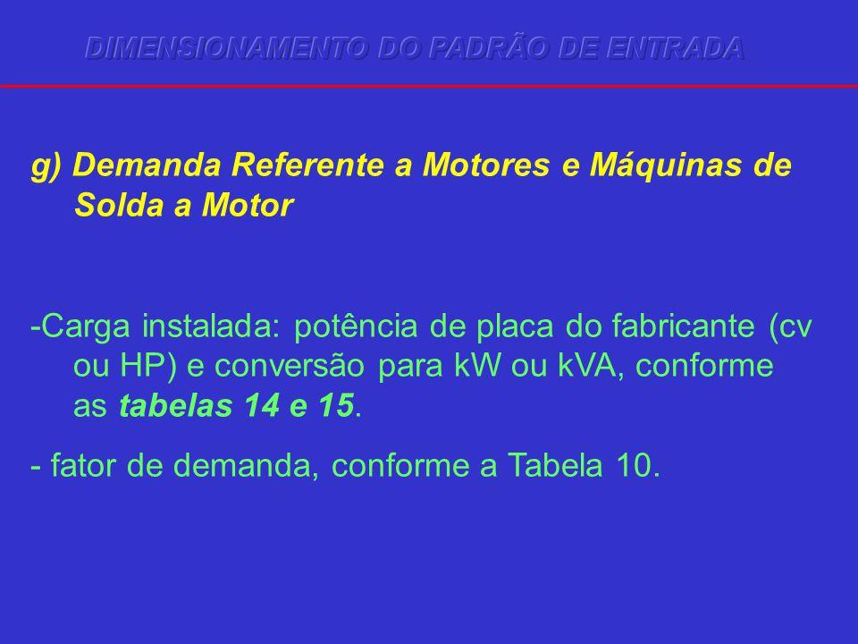g) Demanda Referente a Motores e Máquinas de Solda a Motor -Carga instalada: potência de placa do fabricante (cv ou HP) e conversão para kW ou kVA, conforme as tabelas 14 e 15.