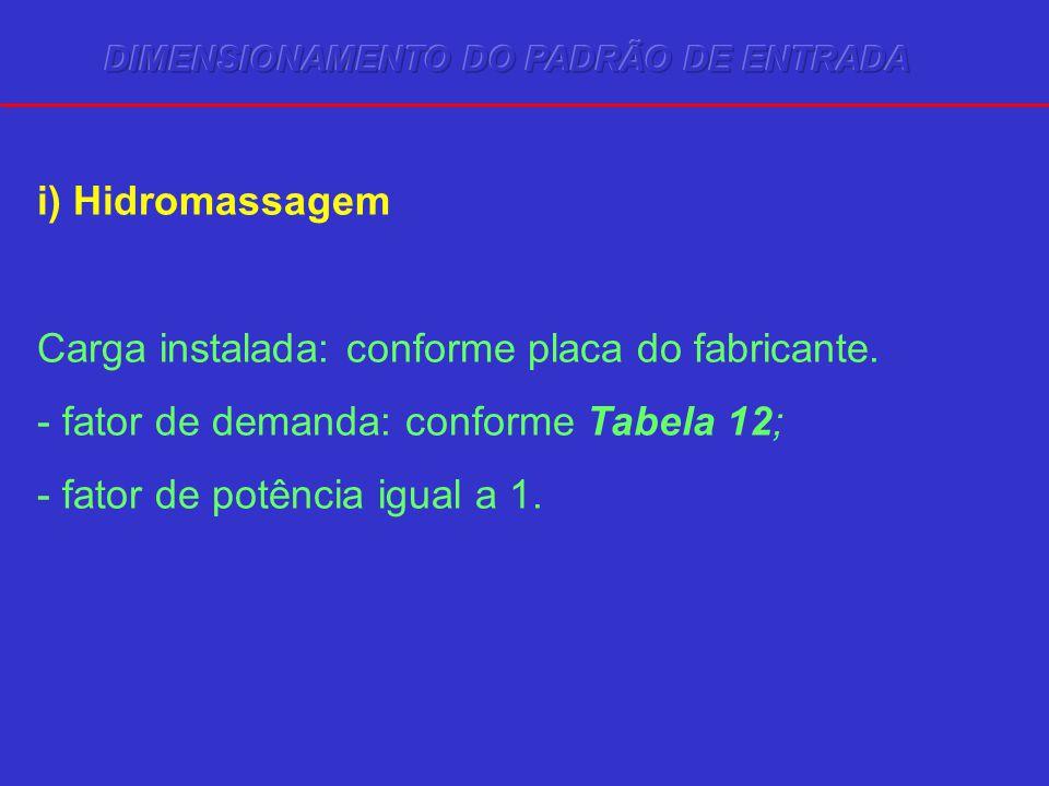 i) Hidromassagem Carga instalada: conforme placa do fabricante. - fator de demanda: conforme Tabela 12; - fator de potência igual a 1.