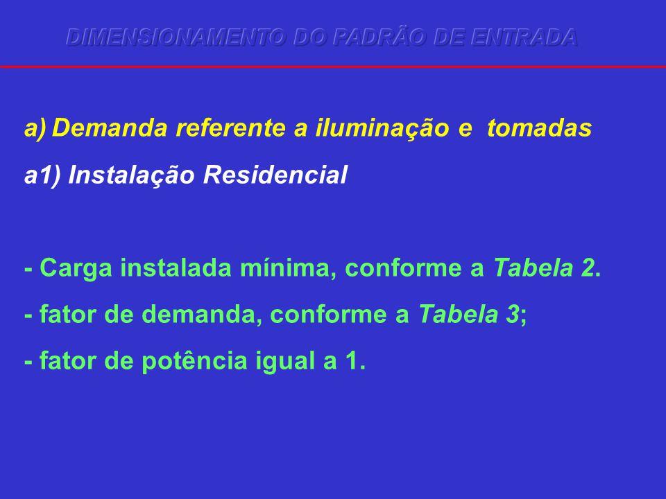 a)Demanda referente a iluminação e tomadas a1) Instalação Residencial - Carga instalada mínima, conforme a Tabela 2. - fator de demanda, conforme a Ta