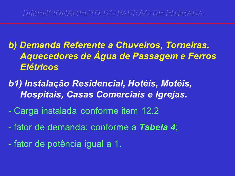 b) Demanda Referente a Chuveiros, Torneiras, Aquecedores de Água de Passagem e Ferros Elétricos b1) Instalação Residencial, Hotéis, Motéis, Hospitais,