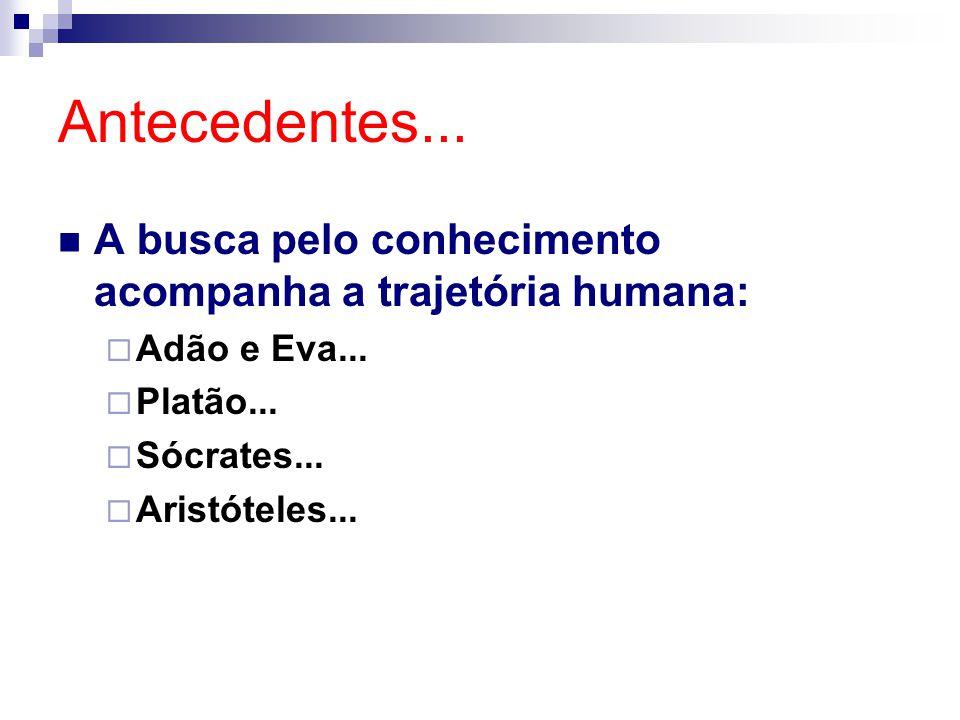 Antecedentes... A busca pelo conhecimento acompanha a trajetória humana:  Adão e Eva...  Platão...  Sócrates...  Aristóteles...