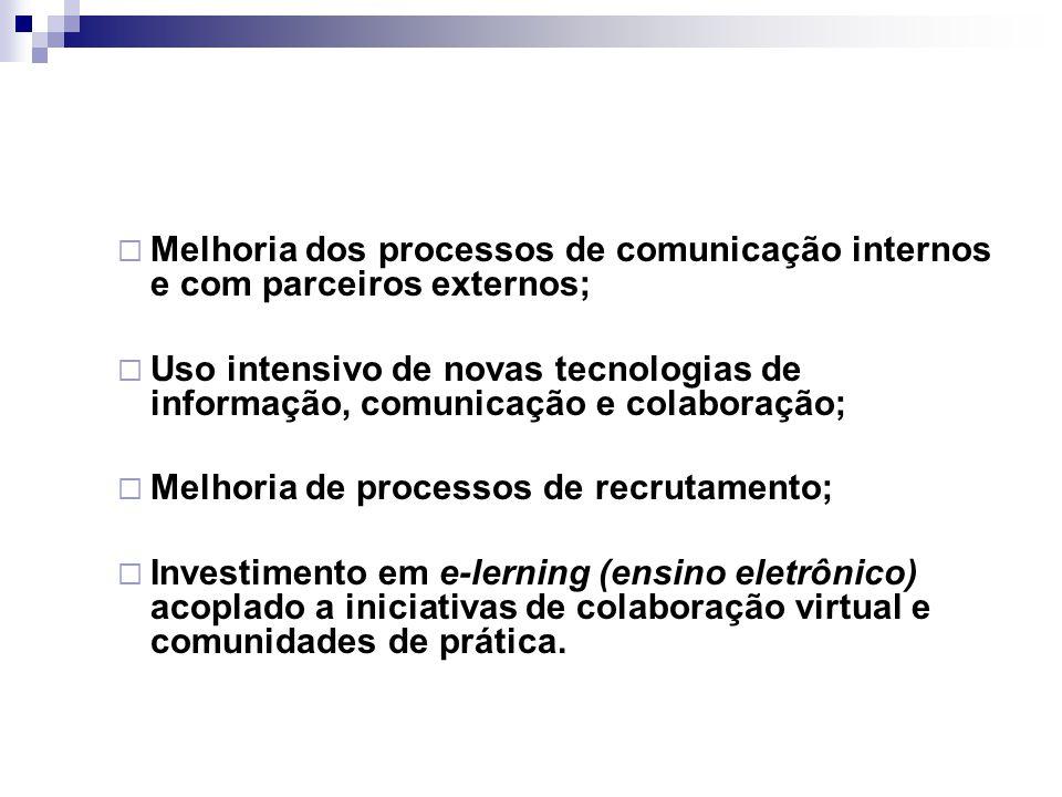  Melhoria dos processos de comunicação internos e com parceiros externos;  Uso intensivo de novas tecnologias de informação, comunicação e colaboraç