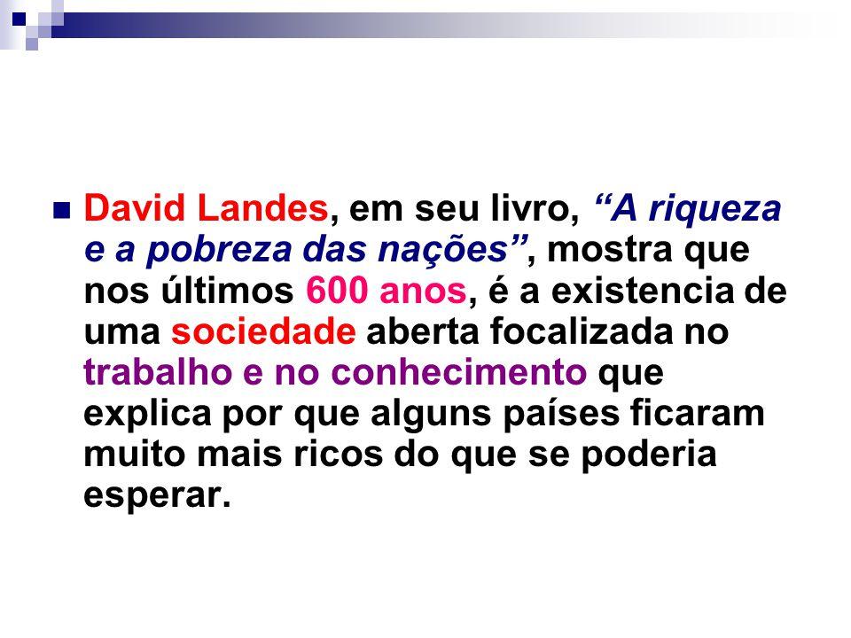 """David Landes, em seu livro, """"A riqueza e a pobreza das nações"""", mostra que nos últimos 600 anos, é a existencia de uma sociedade aberta focalizada no"""