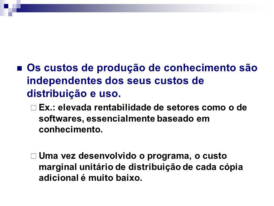 Os custos de produção de conhecimento são independentes dos seus custos de distribuição e uso.  Ex.: elevada rentabilidade de setores como o de softw