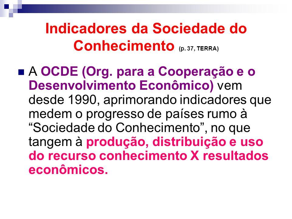 Indicadores da Sociedade do Conhecimento (p. 37, TERRA) A OCDE (Org. para a Cooperação e o Desenvolvimento Econômico) vem desde 1990, aprimorando indi