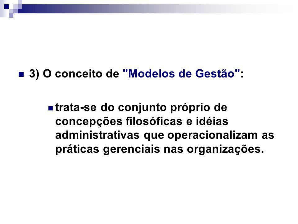 3) O conceito de Modelos de Gestão : trata-se do conjunto próprio de concepções filosóficas e idéias administrativas que operacionalizam as práticas gerenciais nas organizações.