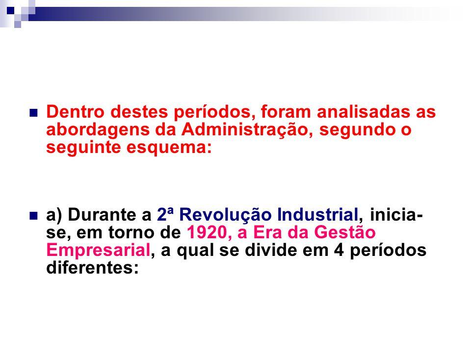 Dentro destes períodos, foram analisadas as abordagens da Administração, segundo o seguinte esquema: a) Durante a 2ª Revolução Industrial, inicia- se, em torno de 1920, a Era da Gestão Empresarial, a qual se divide em 4 períodos diferentes: