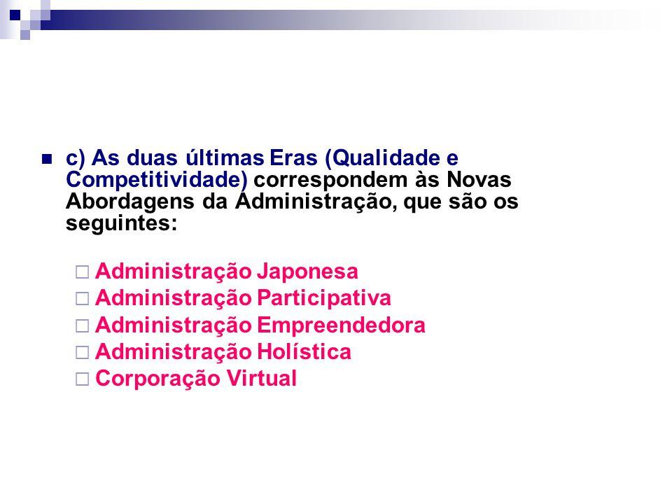 c) As duas últimas Eras (Qualidade e Competitividade) correspondem às Novas Abordagens da Administração, que são os seguintes:  Administração Japonesa  Administração Participativa  Administração Empreendedora  Administração Holística  Corporação Virtual