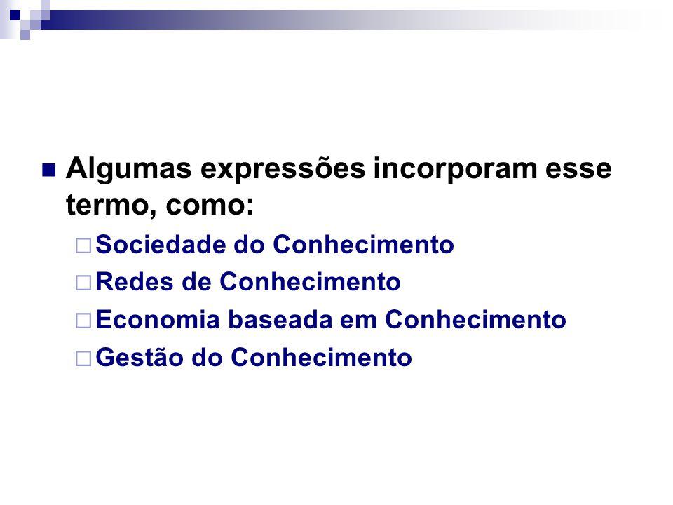Algumas expressões incorporam esse termo, como:  Sociedade do Conhecimento  Redes de Conhecimento  Economia baseada em Conhecimento  Gestão do Con