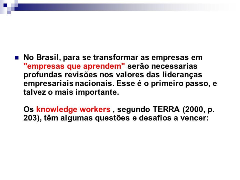No Brasil, para se transformar as empresas em empresas que aprendem serão necessarias profundas revisões nos valores das lideranças empresariais nacionais.