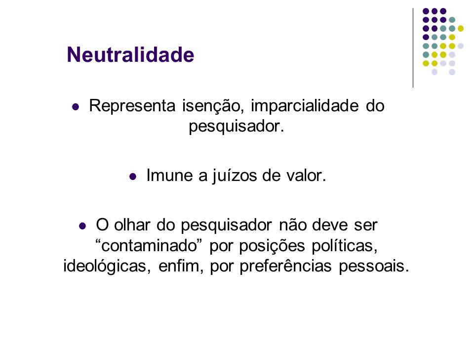 Neutralidade Representa isenção, imparcialidade do pesquisador.