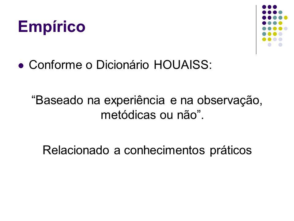 Empírico Conforme o Dicionário HOUAISS: Baseado na experiência e na observação, metódicas ou não .