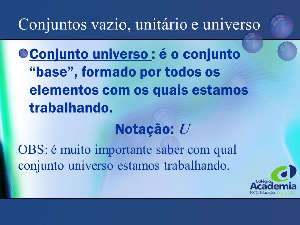 """Conjuntos vazio, unitário e universo Conjunto universo : é o conjunto """"base"""", formado por todos os elementos com os quais estamos trabalhando. Notação"""