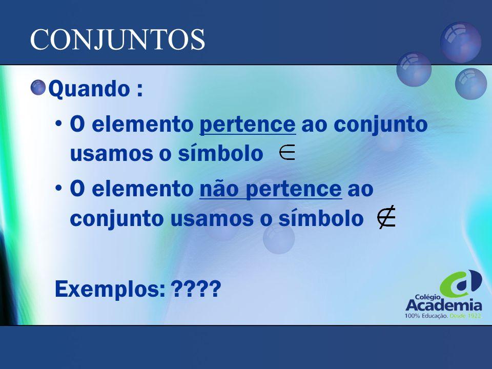 CONJUNTOS Quando : O elemento pertence ao conjunto usamos o símbolo O elemento não pertence ao conjunto usamos o símbolo Exemplos: ????