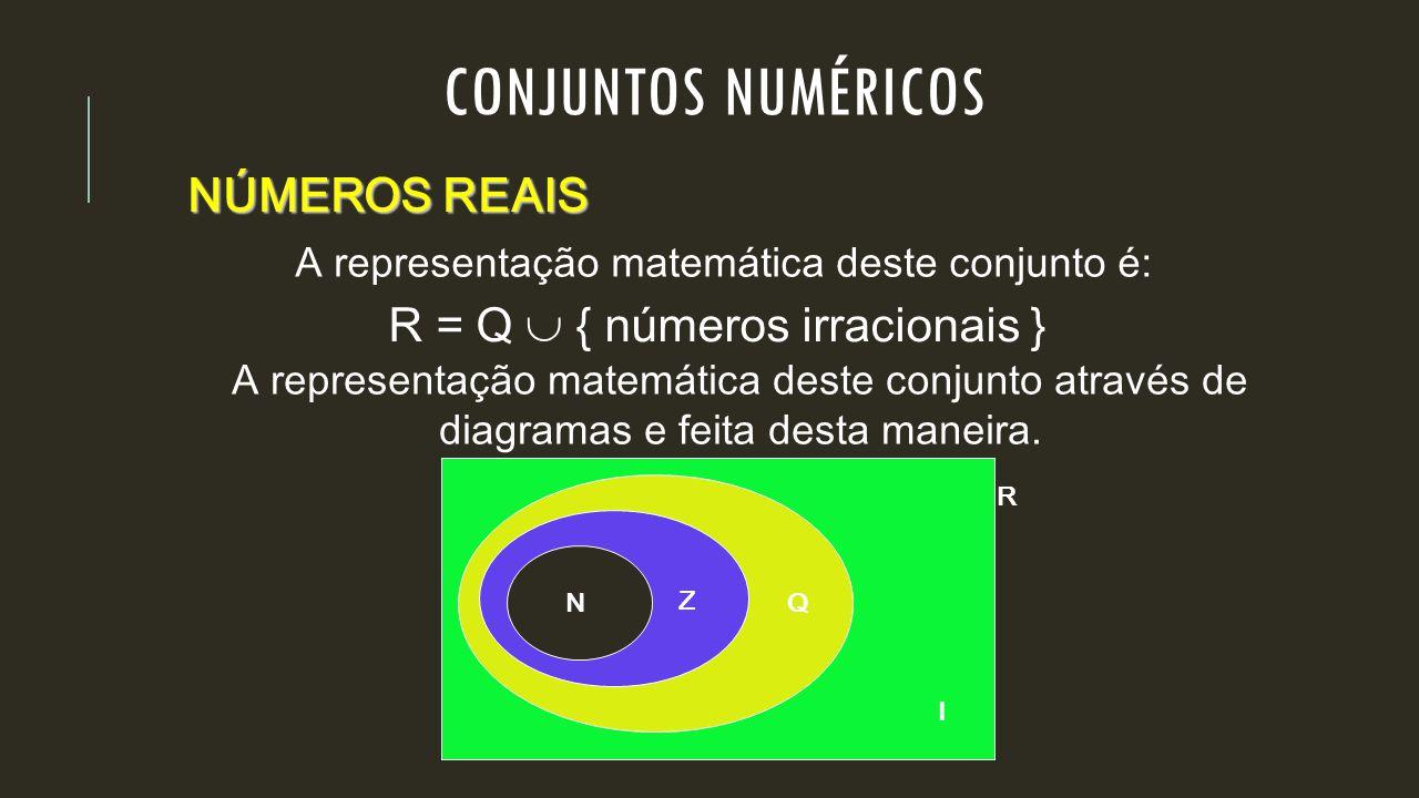 A representação matemática deste conjunto é: R = Q  { números irracionais } NÚMEROS REAIS A representação matemática deste conjunto através de diagra
