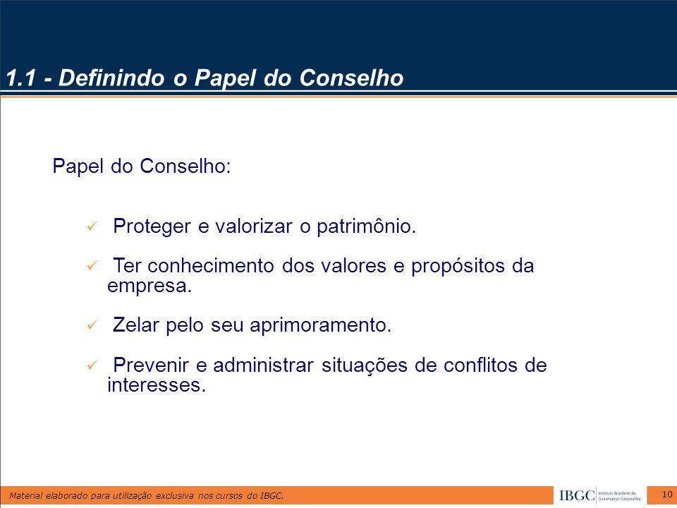 Material elaborado para utilização exclusiva nos cursos do IBGC. 10 1.1 - Definindo o Papel do Conselho Papel do Conselho: Proteger e valorizar o patr
