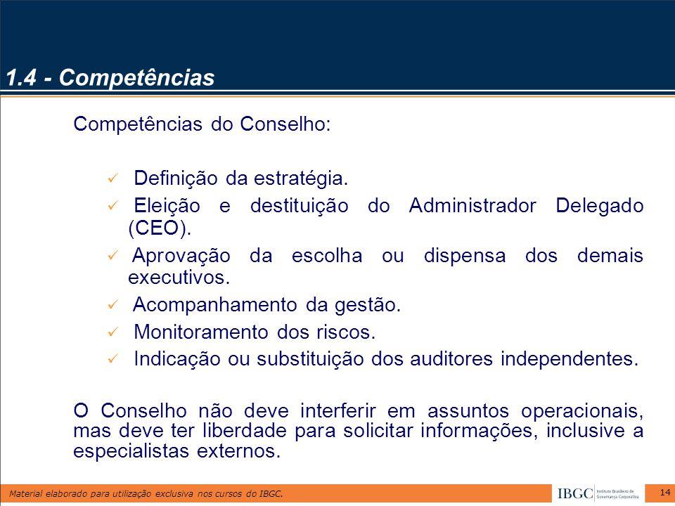 Material elaborado para utilização exclusiva nos cursos do IBGC. 14 1.4 - Competências Competências do Conselho: Definição da estratégia. Eleição e de
