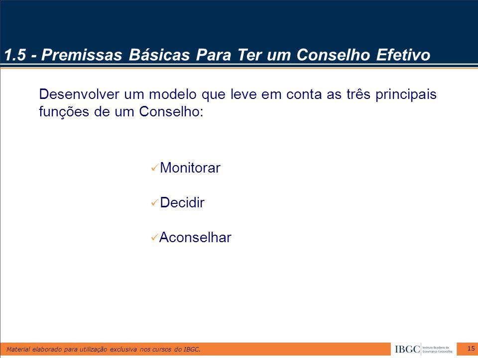 Material elaborado para utilização exclusiva nos cursos do IBGC. 15 1.5 - Premissas Básicas Para Ter um Conselho Efetivo Desenvolver um modelo que lev