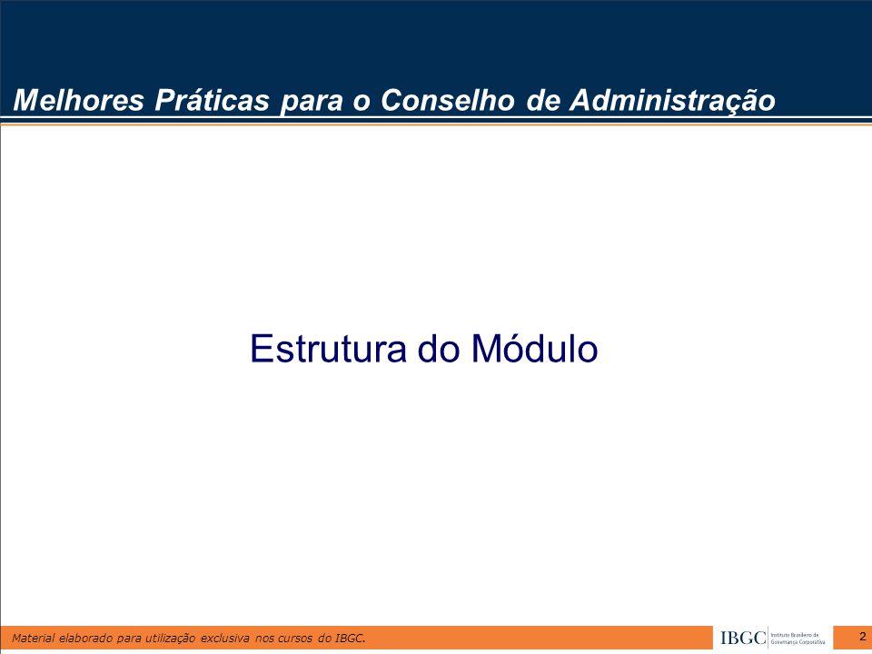 Material elaborado para utilização exclusiva nos cursos do IBGC. 22 Estrutura do Módulo Melhores Práticas para o Conselho de Administração