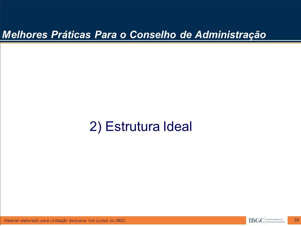 Material elaborado para utilização exclusiva nos cursos do IBGC. 26 Melhores Práticas Para o Conselho de Administração 2) Estrutura Ideal